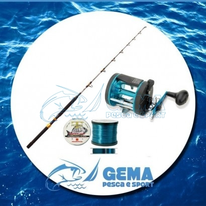 Kit Pesca Traina Altura Canna Mulinello Filo